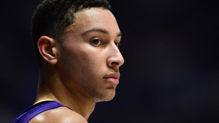 Mar 12, 2016; Nashville, TN, USA; LSU Tigers forward Ben Simmons (25) looks on from the court in the first half against the Texas A&M Aggies during the SEC conference tournament at Bridgestone Arena. Mandatory Credit: Christopher Hanewinckel-USA TODAY Sports