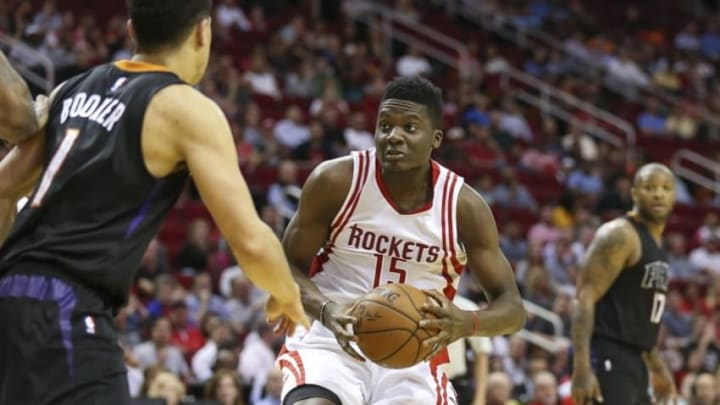 Apr 7, 2016; Houston, TX, USA; Houston Rockets forward Clint Capela (15) prepares to shoot the ball during the third quarter against the Phoenix Suns at Toyota Center. Mandatory Credit: Troy Taormina-USA TODAY Sports