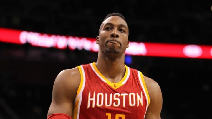 Jan 14, 2015; Orlando, FL, USA; Houston Rockets center Dwight Howard (12) reacts during the fourth quarter at Amway Center. Orlando Magic defeated the Houston Rockets 120-113. Mandatory Credit: Kim Klement-USA TODAY Sports