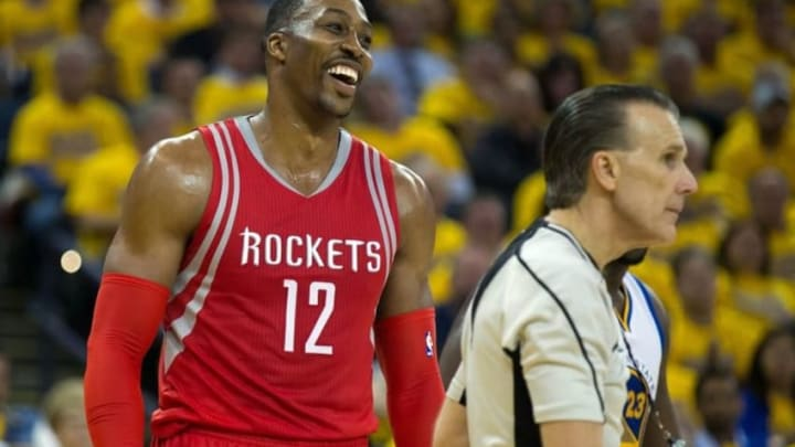 Apr 27, 2016; Oakland, CA, USA; Houston Rockets center Dwight Howard (12) reacts after being called for a foul against the Golden State Warriors during the third quarter in game five of the first round of the NBA Playoffs at Oracle Arena. Mandatory Credit: Kelley L Cox-USA TODAY Sports