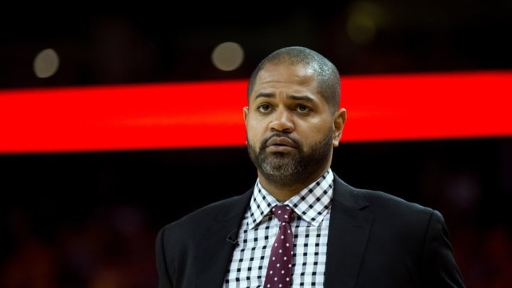 Apr 27, 2016; Oakland, CA, USA; Houston Rockets head coach J.B. Bickerstaff against the Golden State Warriors during the second quarter in game five of the first round of the NBA Playoffs at Oracle Arena. Mandatory Credit: Kelley L Cox-USA TODAY Sports