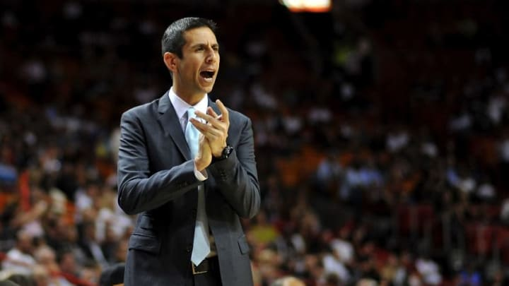 Apr 13, 2015; Miami, FL, USA; Orlando Magic head coach James Borrego reacts during the first half against the Miami Heat at American Airlines Arena. Mandatory Credit: Steve Mitchell-USA TODAY Sports