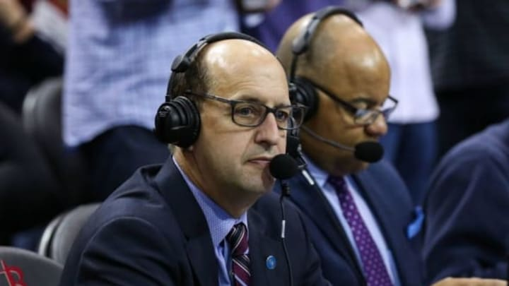 Jan 15, 2016; Houston, TX, USA; Broadcast analyst Jeff Van Gundy before a game between the Houston Rockets and the Cleveland Cavaliers at Toyota Center. Mandatory Credit: Troy Taormina-USA TODAY Sports