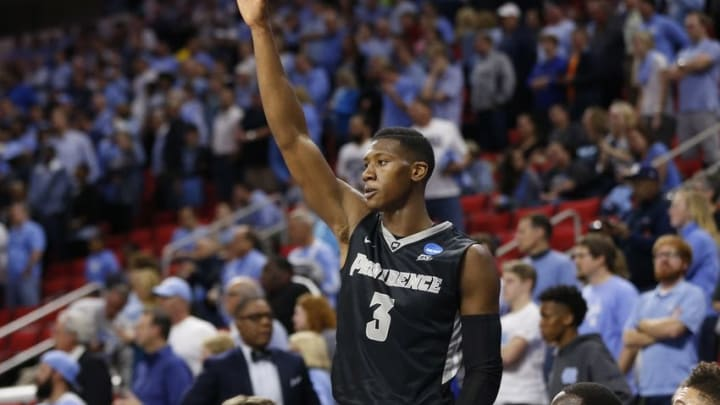 Mar 19, 2016; Raleigh, NC, USA; Providence Friars guard Kris Dunn (3) waves to the fans after being removed from the game against the North Carolina Tar Heels in the second half during the second round of the 2016 NCAA Tournament at PNC Arena. The Tar Heels won 85-66. Mandatory Credit: Geoff Burke-USA TODAY Sports
