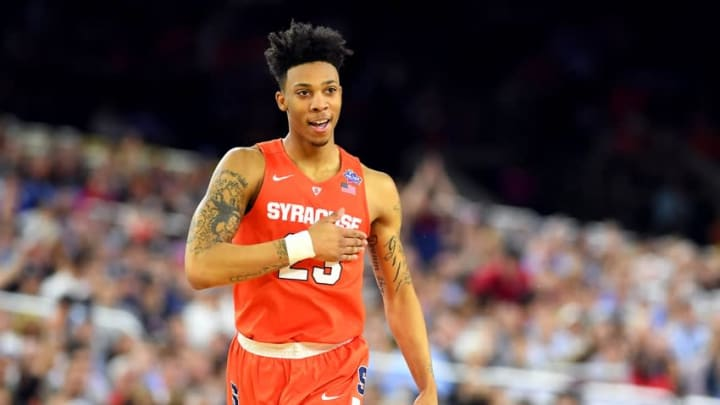 Apr 2, 2016; Houston, TX, USA; Syracuse Orange guard Malachi Richardson (23) reacts after a play during the first half against the North Carolina Tar Heels in the 2016 NCAA Men