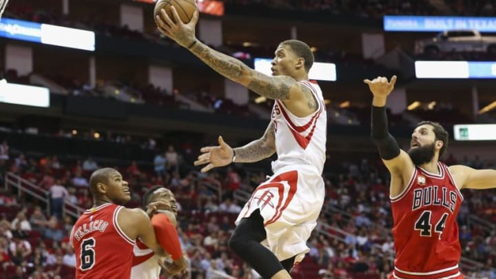 Mar 31, 2016; Houston, TX, USA; Houston Rockets forward Michael Beasley (8) shoots the ball during the second quarter against the Chicago Bulls at Toyota Center. Mandatory Credit: Troy Taormina-USA TODAY Sports