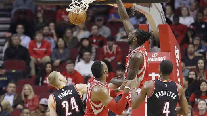 Feb 6, 2016; Houston, TX, USA; Houston Rockets forward Montrezl Harrell (35) dunks against the Portland Trail Blazers in the second half at Toyota Center. Portland won 96 to 79. Mandatory Credit: Thomas B. Shea-USA TODAY Sports
