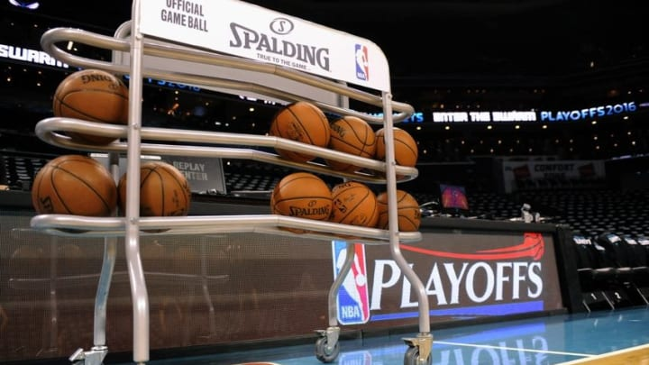 Apr 23, 2016; Charlotte, NC, USA; A rack of basketballs awaits play before game three of the first round of the NBA Playoffs between the Charlotte Hornets and the Miami Heat at Time Warner Cable Arena. Mandatory Credit: Sam Sharpe-USA TODAY Sports