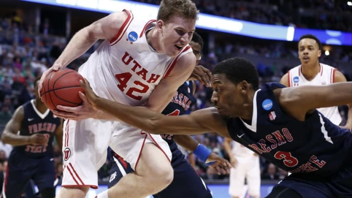 Mar 17, 2016; Denver , CO, USA; Fresno State Bulldogs guard Paul Watson (3) strips the ball from Utah Utes forward Jakob Poeltl (42) in the second half of Utah vs Fresno State in the first round of the 2016 NCAA Tournament at Pepsi Center. Mandatory Credit: Isaiah J. Downing-USA TODAY Sports