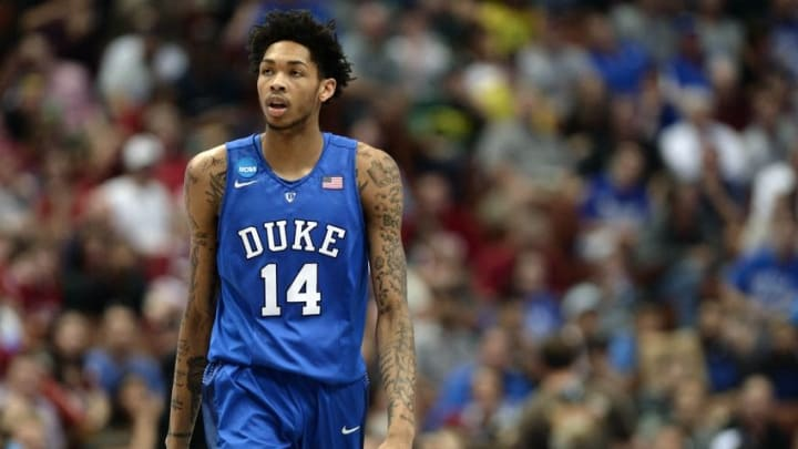 March 24, 2016; Anaheim, CA, USA; Duke Blue Devils guard Brandon Ingram (14) reacts against Oregon Ducks during the first half of the semifinal game in the West regional of the NCAA Tournament at Honda Center. Mandatory Credit: Robert Hanashiro-USA TODAY Sports