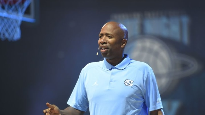 Oct 23, 2015; Chapel Hill, NC, USA; Former Tar Heel Kenny Smith and host of Late with Roy Williams at Smith Center. Mandatory Credit: Bob Donnan-USA TODAY Sports