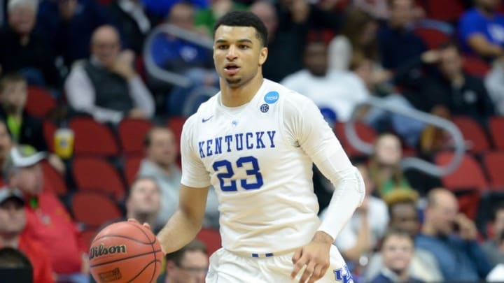 Mar 17, 2016; Des Moines, IA, USA; Kentucky Wildcats guard Jamal Murray (23) dribbles against the Stony Brook Seawolves in the first round of the 2016 NCAA Tournament at Wells Fargo Arena. Mandatory Credit: Steven Branscombe-USA TODAY Sports