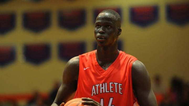 12/5/15 7:20:06 PM -- Benton, KY, U.S.A -- Athlete Institute Prep forward Thon Maker (14) lines up for a free throw during the second half against Oak Hill Academy at the Grind Session basketball tournament. -- Photo by Christopher Hanewinckel USA TODAY Sports Images, Gannett ORG XMIT: US 134138 Grind Hoops 12/5/2015 [Via MerlinFTP Drop]