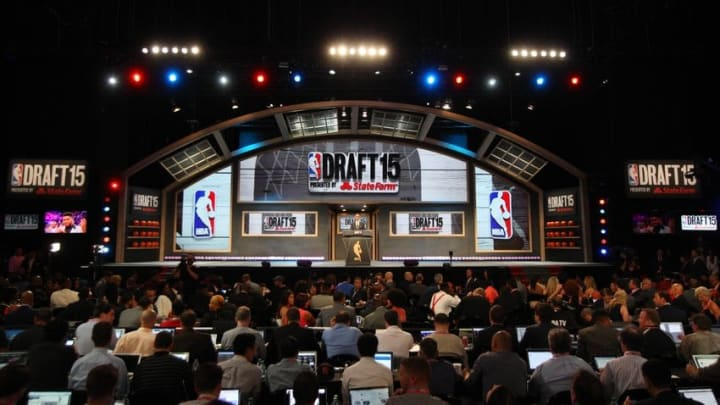 Jun 25, 2015; Brooklyn, NY, USA; NBA commissioner Adam Silver addresses the crowd before the first round of the 2015 NBA Draft at Barclays Center. Mandatory Credit: Brad Penner-USA TODAY Sports