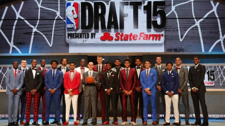 Jun 25, 2015; Brooklyn, NY, USA; Prospects pose for a group picture with NBA commissioner Adam Silver (holding basketball) before the start of the 2015 NBA Draft at Barclays Center. Mandatory Credit: Brad Penner-USA TODAY Sports