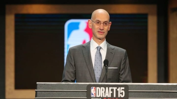 Jun 25, 2015; Brooklyn, NY, USA; NBA commissioner Adam Silver speaks at the conclusion of the first round of the 2015 NBA Draft at Barclays Center. Mandatory Credit: Brad Penner-USA TODAY Sports