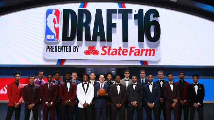 Jun 23, 2016; New York, NY, USA; NBA commissioner Adam Silver poses for a group photo on stage with draft prospects before the 2016 NBA Draft at Barclays Center. Mandatory Credit: Brad Penner-USA TODAY Sports
