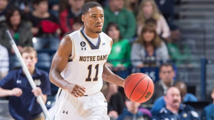 Jan 9, 2016; South Bend, IN, USA; Notre Dame Fighting Irish guard Demetrius Jackson (11) dribbles in the first half against the Pittsburgh Panthers at the Purcell Pavilion. Pittsburgh won 86-82. Mandatory Credit: Matt Cashore-USA TODAY Sports
