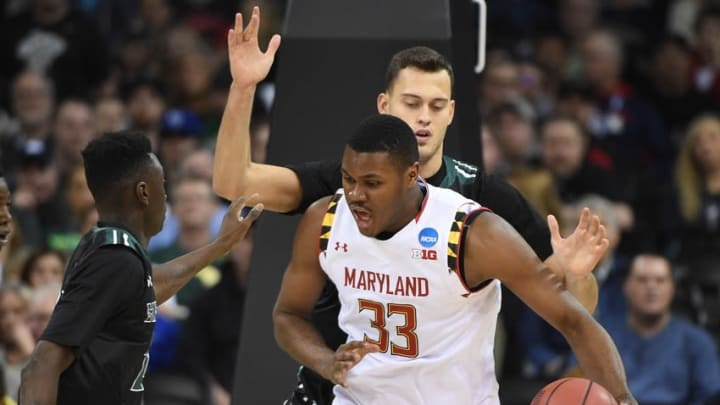 March 20, 2016; Spokane , WA, USA; Maryland Terrapins center Diamond Stone (33) moves to the basket against Hawaii Rainbow Warriors forward Stefan Jankovic (33) during the second half in the second round of the 2016 NCAA Tournament at Spokane Veterans Memorial Arena. Mandatory Credit: Kyle Terada-USA TODAY Sports