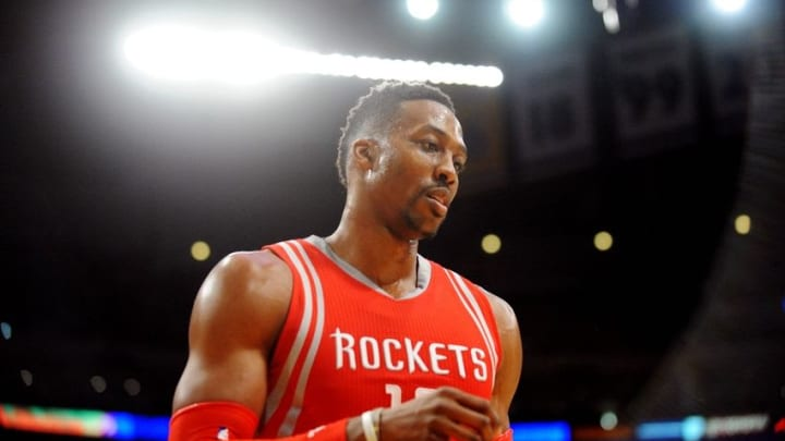 December 17, 2015; Los Angeles, CA, USA; Houston Rockets center Dwight Howard (12) during a stoppage in play against Los Angeles Lakers during the second half at Staples Center. Mandatory Credit: Gary A. Vasquez-USA TODAY Sports