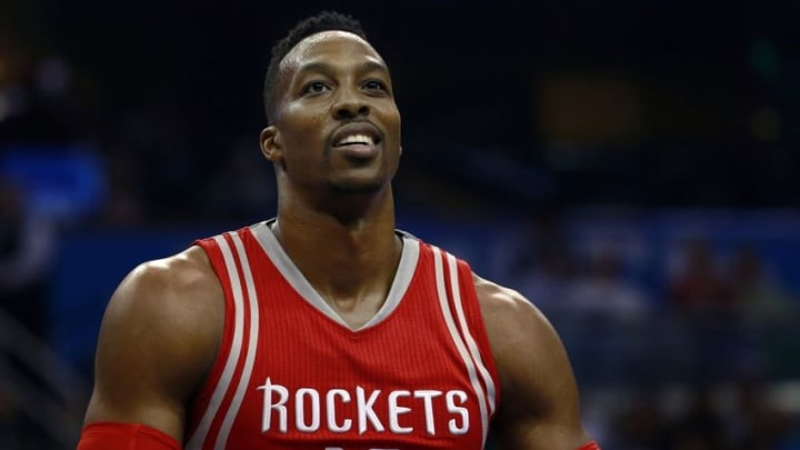 Dec 23, 2015; Orlando, FL, USA; Houston Rockets center Dwight Howard (12) reacts against the Orlando Magic during the first quarter at Amway Center. Mandatory Credit: Kim Klement-USA TODAY Sports