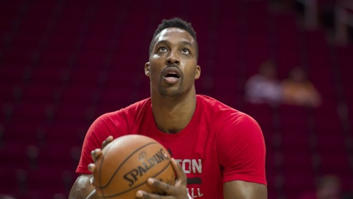 Apr 10, 2016; Houston, TX, USA; Houston Rockets center Dwight Howard (12) warms up before the game against the Los Angeles Lakers at the Toyota Center. Mandatory Credit: Jerome Miron-USA TODAY Sports