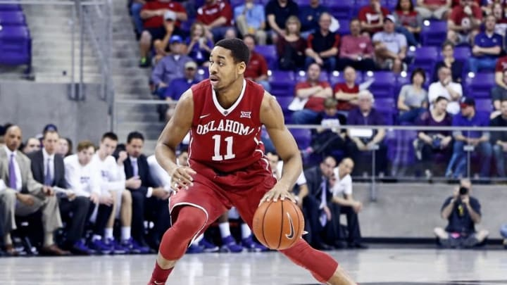 Mar 5, 2016; Fort Worth, TX, USA; Oklahoma Sooners guard Isaiah Cousins (11) dribbles during the game against the TCU Horned Frogs at Ed and Rae Schollmaier Arena. Mandatory Credit: Kevin Jairaj-USA TODAY Sports