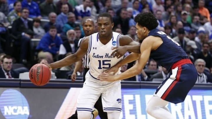 Mar 17, 2016; Denver , CO, USA; Seton Hall Pirates guard Isaiah Whitehead (15) dribbles up court against Gonzaga Bulldogs guard Silas Melson (0) in the first half of Seton Hall vs Gonzaga in the first round of the 2016 NCAA Tournament at Pepsi Center. Mandatory Credit: Isaiah J. Downing-USA TODAY Sports