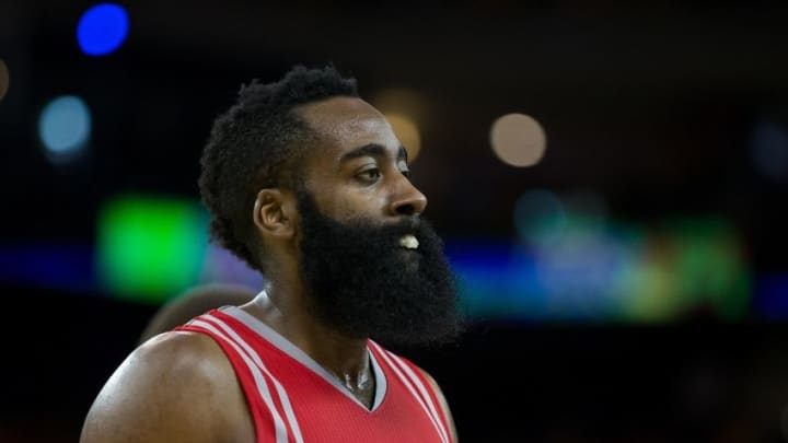 Apr 27, 2016; Oakland, CA, USA; Houston Rockets guard James Harden (13) as a timeout is called against the Golden State Warriors during the third quarter in game five of the first round of the NBA Playoffs at Oracle Arena. Mandatory Credit: Kelley L Cox-USA TODAY Sports