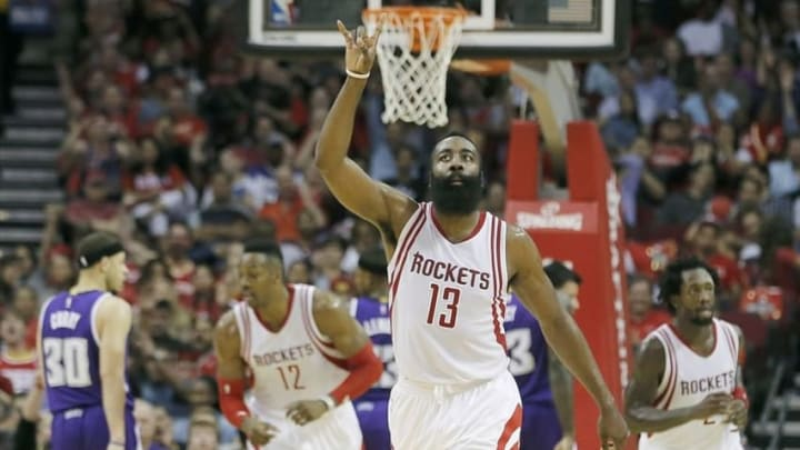 Apr 13, 2016; Houston, TX, USA; Houston Rockets guard James Harden (13) reacts after making a three point basket against the Sacramento Kings in the second half at Toyota Center. Rockets won 116 to 81. Mandatory Credit: Thomas B. Shea-USA TODAY Sports