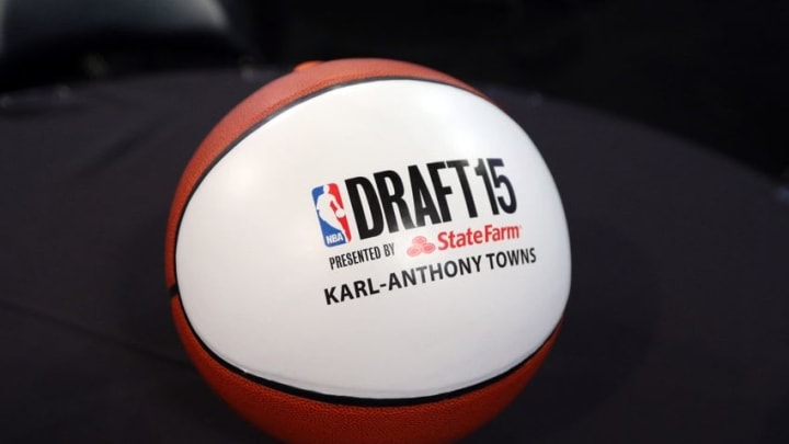 Jun 25, 2015; Brooklyn, NY, USA; Seat marker for Kentucky Wildcats freshman Karl-Anthony Towns before the start of the 2015 NBA Draft at Barclays Center. Mandatory Credit: Brad Penner-USA TODAY Sports