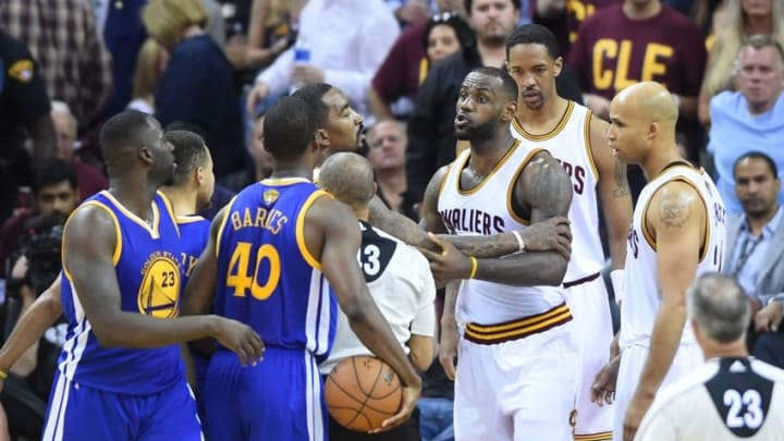 Jun 10, 2016; Cleveland, OH, USA; Cleveland Cavaliers forward LeBron James (23) exchanges word during the fourth quarter in game four of the NBA Finals against the Golden State Warriors at Quicken Loans Arena. Mandatory Credit: Ken Blaze-USA TODAY Sports