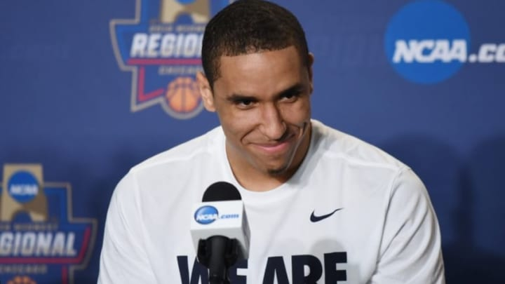 Mar 24, 2016; Chicago, IL, USA; Virginia Cavaliers guard Malcolm Brogdon at a press conference during practice the day before the semifinals of the Midwest regional of the NCAA Tournament at United Center. Mandatory Credit: David Banks-USA TODAY Sports