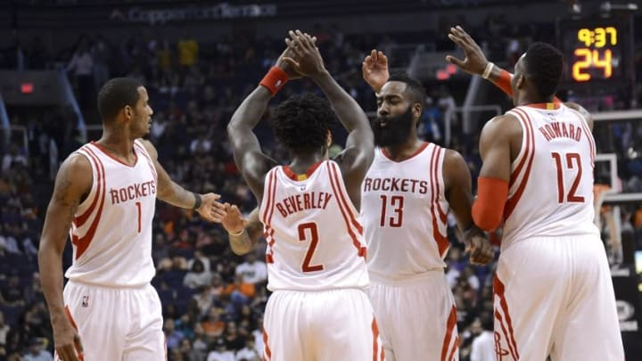 Feb 19, 2016; Phoenix, AZ, USA; Houston Rockets players celebrate against the Phoenix Suns during the second half at Talking Stick Resort Arena. The Rockets won 116-100. Mandatory Credit: Joe Camporeale-USA TODAY Sports