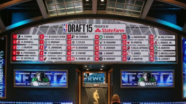 Jun 25, 2015; Brooklyn, NY, USA; General view of the full first round draft board at the conclusion of the first round of the 2015 NBA Draft at Barclays Center. Mandatory Credit: Brad Penner-USA TODAY Sports