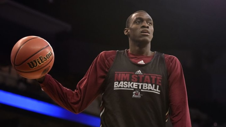 Mar 19, 2015; Omaha, NE, USA; New Mexico State Aggies forward Pascal Siakam during practice before the 2015 NCAA Tournament at CenturyLink Center. Mandatory Credit: Jasen Vinlove-USA TODAY Sports
