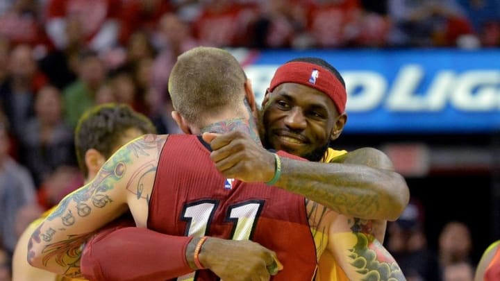 Dec 25, 2014; Miami, FL, USA; Cleveland Cavaliers forward LeBron James (23) greets Miami Heat forward Chris Andersen (11) before tip-off at American Airlines Arena. Mandatory Credit: Steve Mitchell-USA TODAY Sports