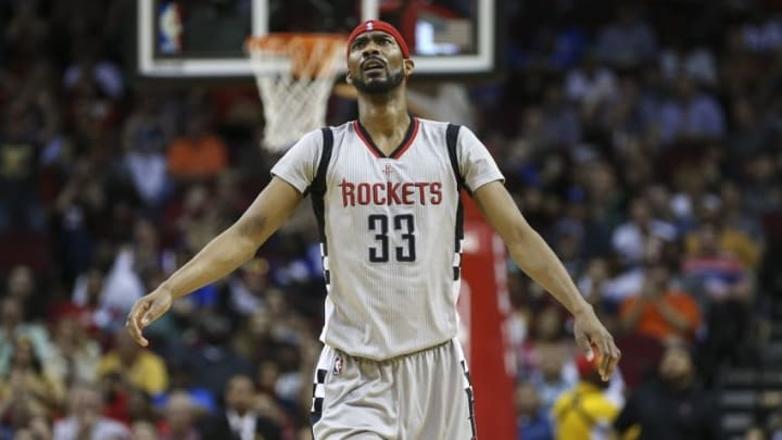 Apr 3, 2016; Houston, TX, USA; Houston Rockets guard Corey Brewer (33) reacts after a play during the second quarter against the Oklahoma City Thunder at Toyota Center. Mandatory Credit: Troy Taormina-USA TODAY Sports