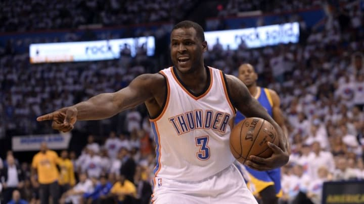 May 24, 2016; Oklahoma City, OK, USA; Oklahoma City Thunder guard Dion Waiters (3) reacts during the first quarter against the Golden State Warriors in game four of the Western conference finals of the NBA Playoffs at Chesapeake Energy Arena. Mandatory Credit: Mark D. Smith-USA TODAY Sports