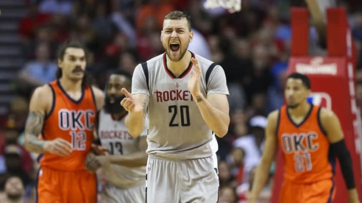 Apr 3, 2016; Houston, TX, USA; Houston Rockets forward Donatas Motiejunas (20) claps after a play during the second quarter against the Oklahoma City Thunder at Toyota Center. Mandatory Credit: Troy Taormina-USA TODAY Sports