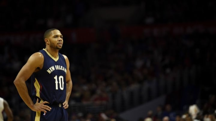 Jan 10, 2016; Los Angeles, CA, USA; New Orleans Pelicans guard Eric Gordon (10) looks on during the third quarter against the Los Angeles Clippers at Staples Center. The Los Angeles Clippers won in overtime 114-111. Mandatory Credit: Kelvin Kuo-USA TODAY Sports