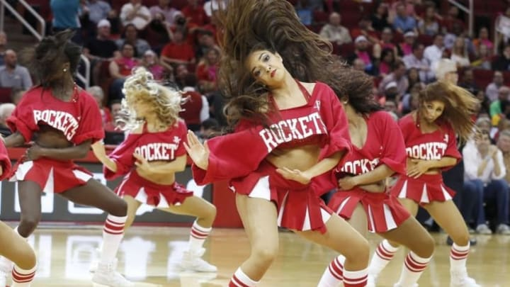 Mar 16, 2016; Houston, TX, USA; Houston Rockets Power Dancers perform during a Los Angeles Clippers timeout in the second half at Toyota Center. The Clippers won 122-106. Mandatory Credit: Thomas B. Shea-USA TODAY Sports