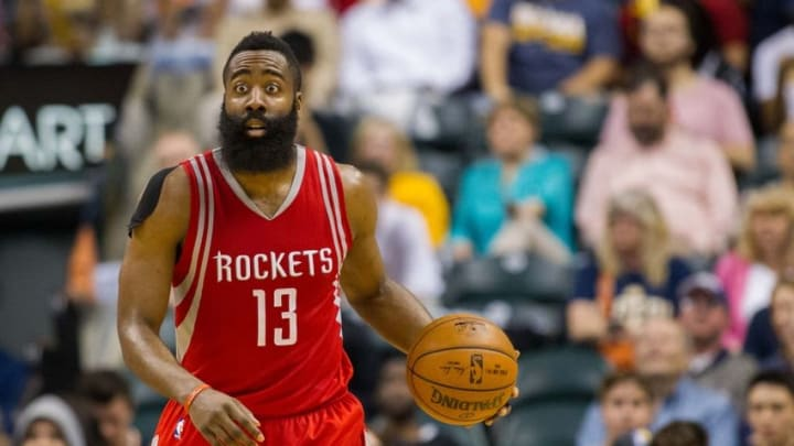 Mar 27, 2016; Indianapolis, IN, USA; Houston Rockets guard James Harden (13) dribbles the ball in the second half of the game against the Indiana Pacers at Bankers Life Fieldhouse. The Indiana Pacers beat the Houston Rockets by the score of 104-101. Mandatory Credit: Trevor Ruszkowski-USA TODAY Sports