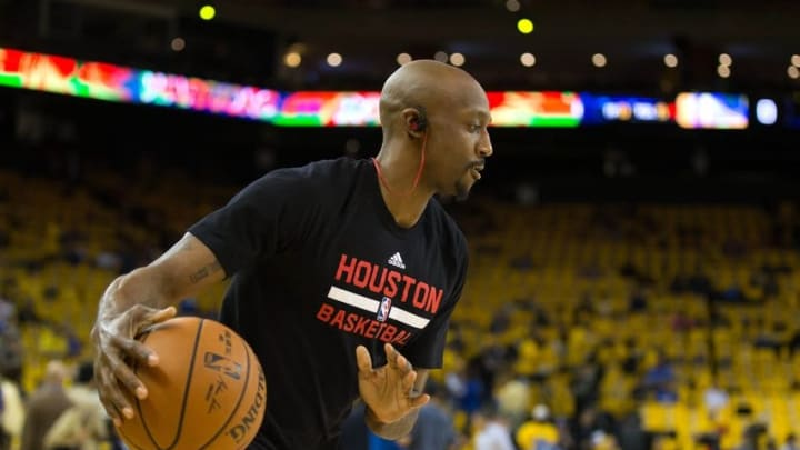 Apr 27, 2016; Oakland, CA, USA; Houston Rockets guard Jason Terry (31) warms up before game five against the Golden State Warriors of the first round of the NBA Playoffs at Oracle Arena. Mandatory Credit: Kelley L Cox-USA TODAY Sports