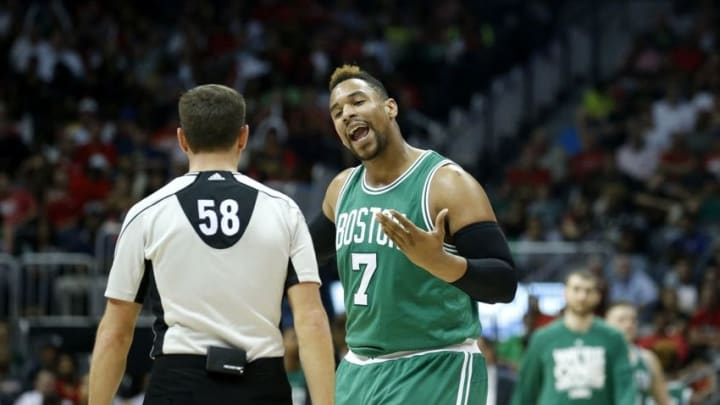 Apr 19, 2016; Atlanta, GA, USA; Boston Celtics center Jared Sullinger (7) reacts to a call by referee Josh Tiven (58) in the third quarter of their game against the Atlanta Hawks in game two of the first round of the NBA Playoffs at Philips Arena. The Hawks won 89-72. Mandatory Credit: Jason Getz-USA TODAY Sports