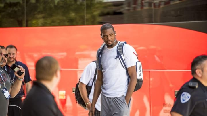 Jul 21, 2016; Las Vegas, NV, USA; USA guard Kevin Durant (5) is seen before practice at Mendenhall Center. Mandatory Credit: Joshua Dahl-USA TODAY Sports