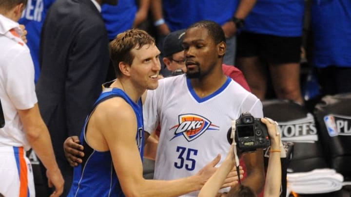 Apr 25, 2016; Oklahoma City, OK, USA; Oklahoma City Thunder forward Kevin Durant (35) and Dallas Mavericks forward Dirk Nowitzki (41) greet each other after the Thunder defeated the Mavericks 118-104 in game five of the first round of the NBA Playoffs at Chesapeake Energy Arena. Mandatory Credit: Mark D. Smith-USA TODAY Sports