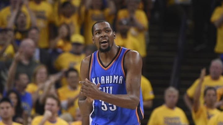 May 30, 2016; Oakland, CA, USA; Oklahoma City Thunder forward Kevin Durant (35) reacts during the second quarter in game seven of the Western conference finals of the NBA Playoffs against the Golden State Warriors at Oracle Arena. Mandatory Credit: Kyle Terada-USA TODAY Sports