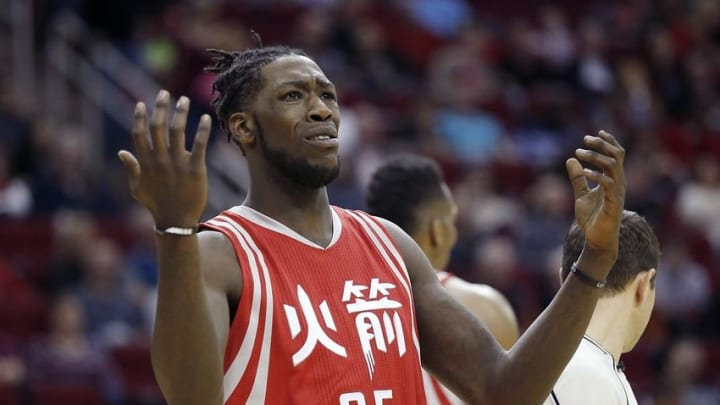 Feb 6, 2016; Houston, TX, USA; Houston Rockets forward Montrezl Harrell (35) reacts while playing against the Portland Trail Blazers in the second half at Toyota Center. Portland won 96 to 79. Mandatory Credit: Thomas B. Shea-USA TODAY Sports
