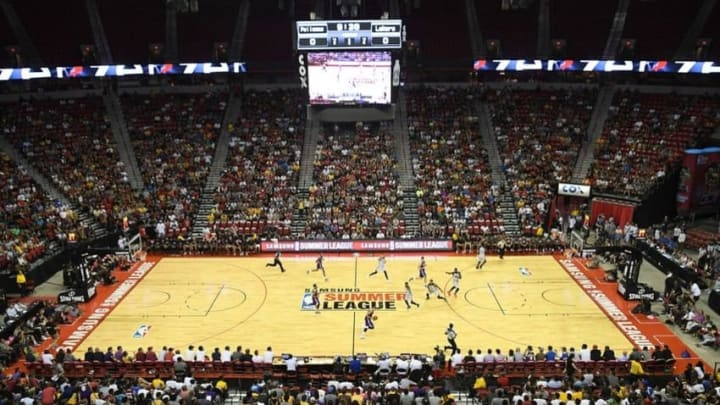Jul 8, 2016; Las Vegas, NV, USA; The Los Angeles Lakers and New Orleans Pelicans play an NBA Summer League game at Thomas & Mack Center. Mandatory Credit: Stephen R. Sylvanie-USA TODAY Sports